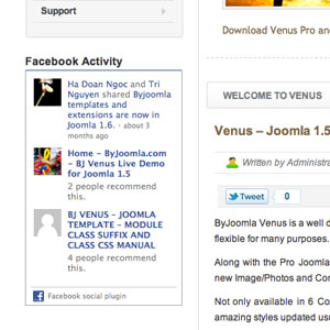 facebook social module for joomla template