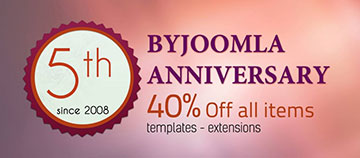 40% Sale On All Products towards Byjoomla's 5th Anniversary