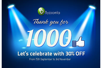 ByJoomla has reached  1000 likes on Facebook